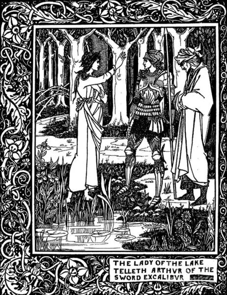 Sword Drawing - The Lady Of The Lake Telleth Arthur Of The Sword Excalibur by Aubrey Beardsley