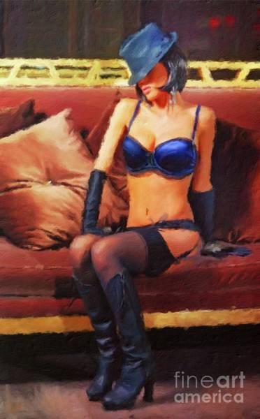 Naturist Wall Art - Painting - The Lady Wears Blue By Mary Bassett by Mary Bassett