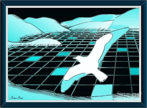 Seagulls Mixed Media - The Lake Of Turquoise Plates by Michael Mirijan