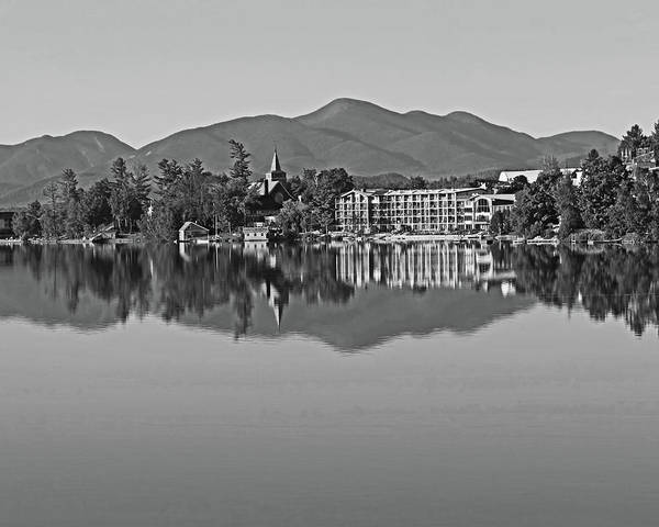 Photograph - The Lake Placid Waterfront  Reflection Lake Placid New York Adirondacks Church Black And White by Toby McGuire