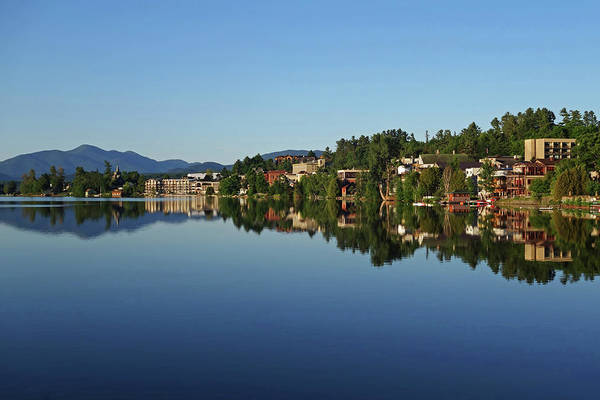 Photograph - The Lake Placid Waterfront  Reflection Lake Placid New York Adirondacks by Toby McGuire