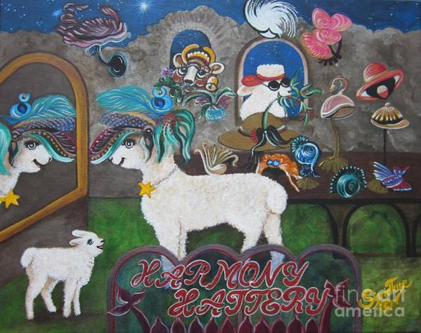 Painting - Chloe The Flying Lamb Productions     Dapper Daphne    The Lamb In The Mirror  by Sigrid Tune