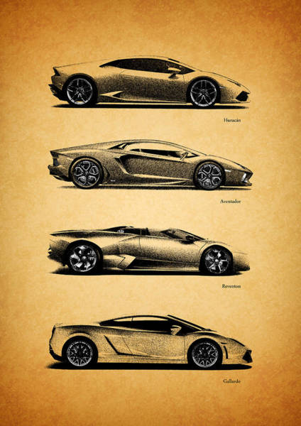 Super Cars Photograph - The Lamborghini Collection by Mark Rogan