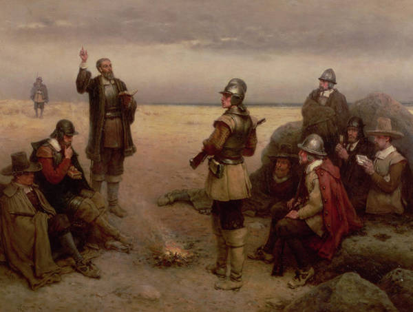 Settlers Painting - The Landing Of The Pilgrim Fathers by George Henry Boughton