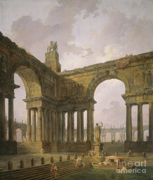 Archway Painting - The Landing Place by Hubert Robert