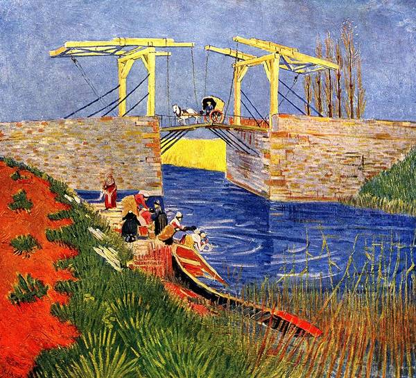 Wall Art - Painting - The Langlois Bridge At Arles With Women Washing, 1888 - Vincent Van Gogh by Celestial Images