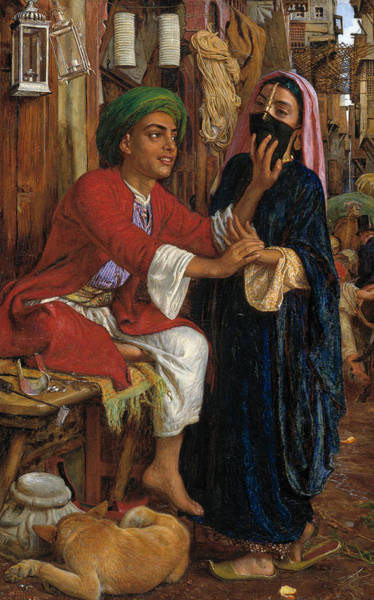 Painting - The Lantern Maker's Courtship, A Street Scene In Cairo  by William Holman Hunt
