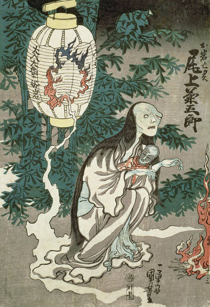 Wall Art - Drawing - The Lantern Of The Ghost Of Sifigured O-iwa by Japanese School