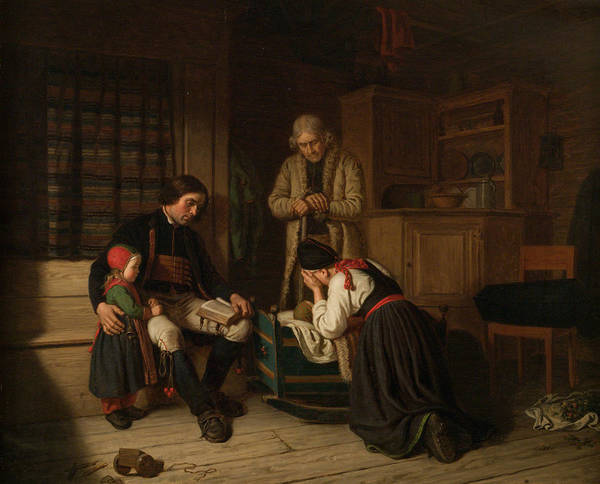 Swedish Painters Wall Art - Painting - The Last Bed Of The Little One by Amalia Lindegren