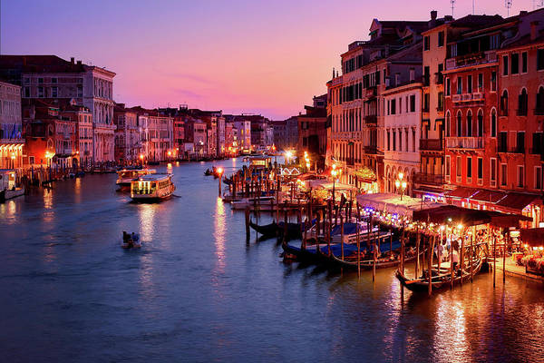Photograph - The Blue Hour From The Rialto Bridge In Venice, Italy by Fine Art Photography Prints By Eduardo Accorinti