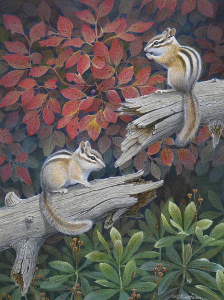 Chipmunk Wall Art - Painting - The Last Huckleberry by Mike Stinnett