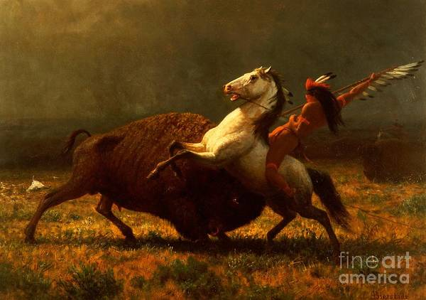 Horseback Wall Art - Painting - The Last Of The Buffalo by Albert Bierstadt