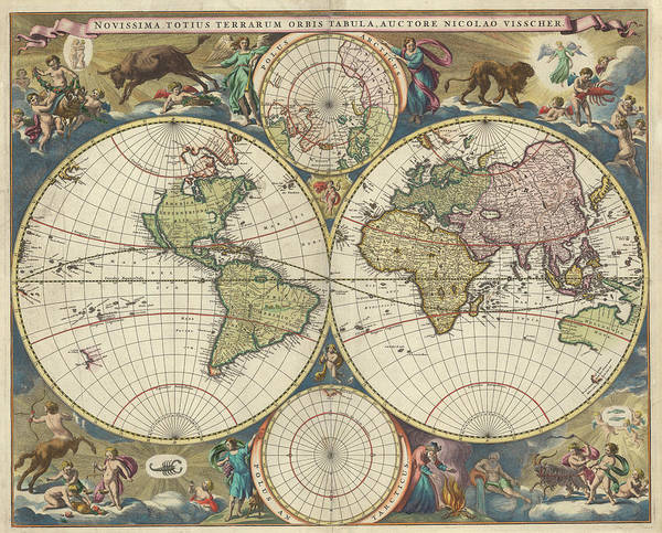 Wall Art - Painting - The Last Of The World Map by Nicolaes Visscher