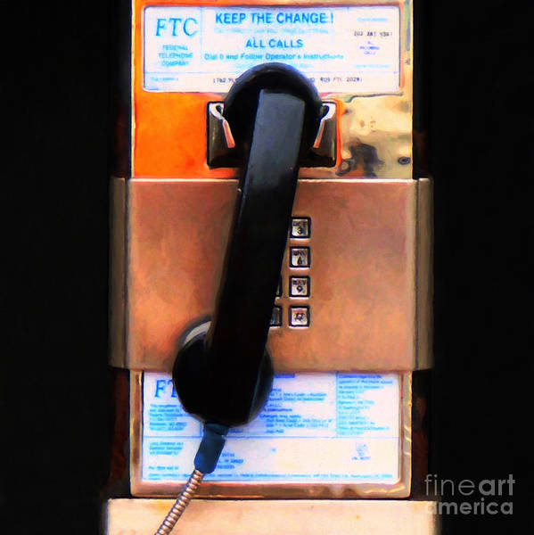 Photograph - The Last Pay Phone On Earth 20150901 Painterly V2 Square by Wingsdomain Art and Photography