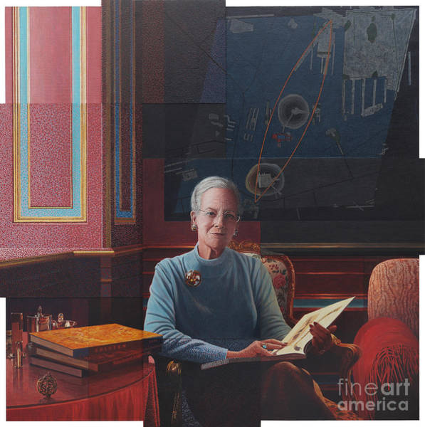 Painting - The Last Portrait Of Queen Margareth Of Denmark by Celestial Images