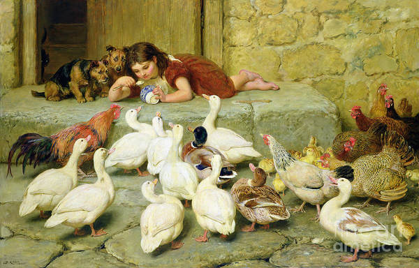 Hen Painting - The Last Spoonful by Briton Riviere
