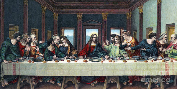 Bread And Wine Painting - The Last Supper After The Fresco By Leonardo Da Vinci by Italian School