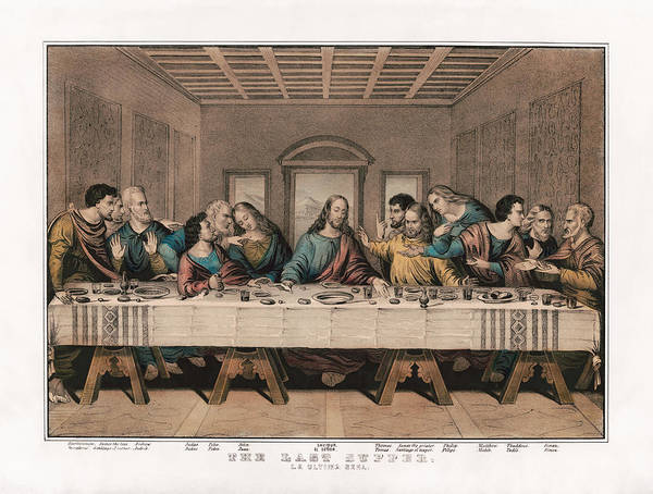 Wall Art - Painting - The Last Supper - Vintage Currier And Ives Print by War Is Hell Store