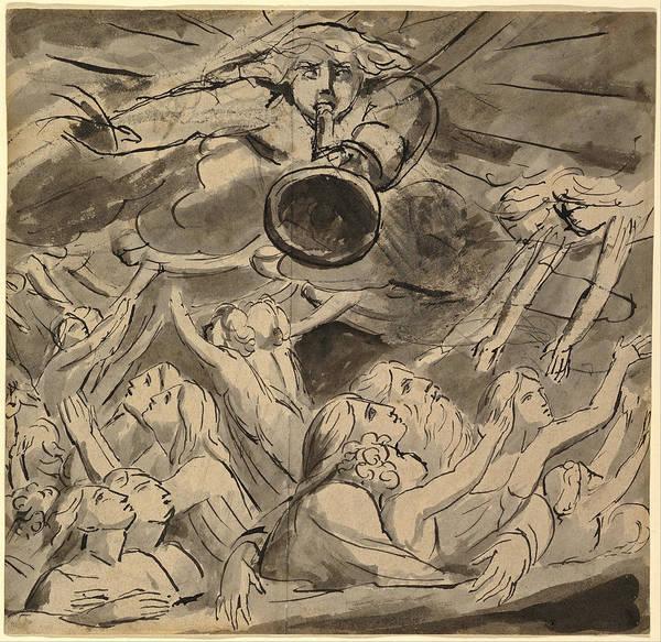 William Blake Drawing - The Last Trumpet  by William Blake