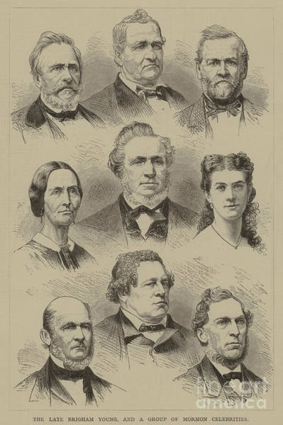 American History Drawing - The Late Brigham Young, And A Group Of Mormon Celebrities by American School
