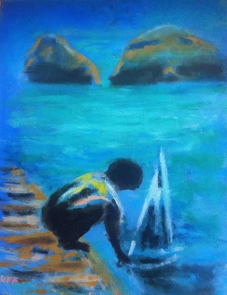 Painting - The Launch Sjosattningen by Enrico Garff