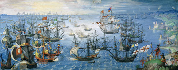 Wall Art - Painting - The Launching Of English Fire Ships On The Spanish Fleet Off Calais by Flemish School