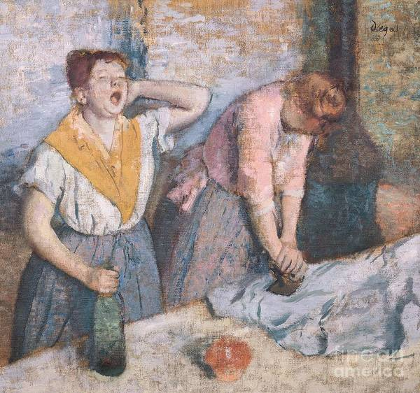 Oil Industry Painting - The Laundresses by Edgar Degas