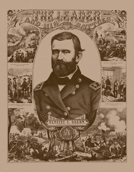Civil War Wall Art - Mixed Media - The Leader And His Battles - General Grant by War Is Hell Store