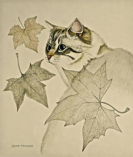 the Leaf Cat Art Print