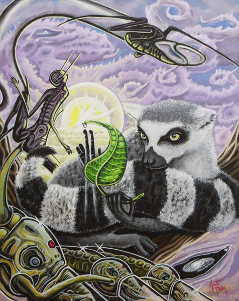Ring-tailed Lemur Painting - The Leaf Of Truth by Justin Miller
