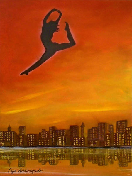 High Jump Painting - The Leap by Faye Anastasopoulou