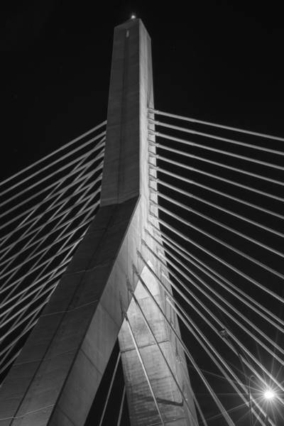 Photograph - The Lenny Zakim Bridge Lit Up In Purple Closeup Black And White by Toby McGuire