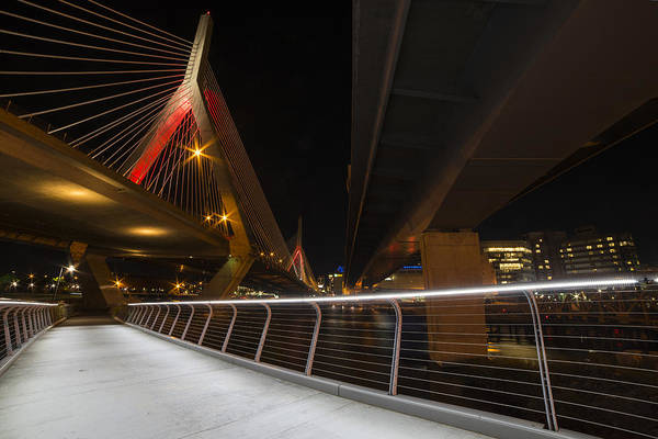 Photograph - The Lenny Zakim Bridge Lit Up In Red by Toby McGuire