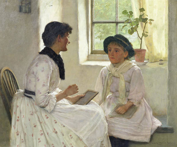 Slate Painting - The Lesson by Edwin Harris