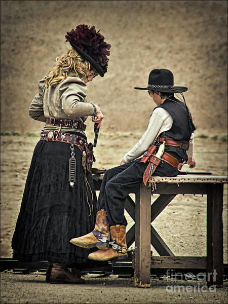 Cowboy Action Shooting Photograph - The Lesson by Priscilla Burgers