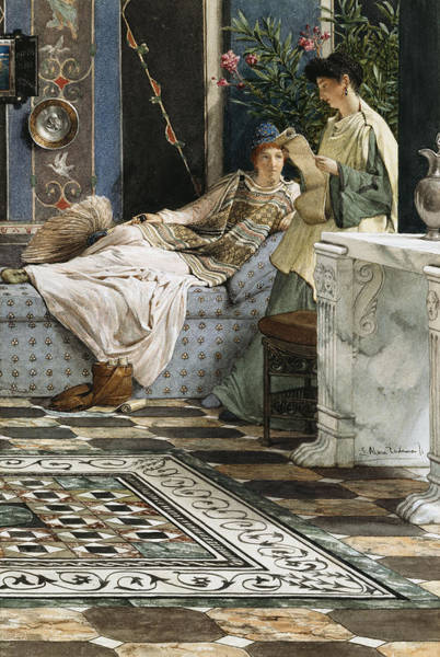 Painting - The Letter From An Absent One by Sir Lawrence Alma-Tadema