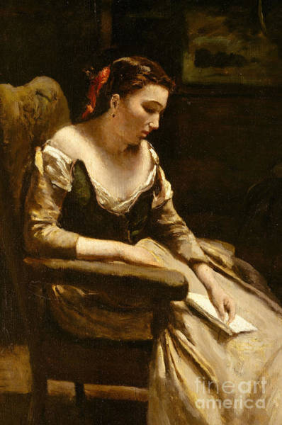 Wall Art - Painting - The Letter by Jean Baptiste Camille Corot