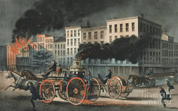 Vintage Fire Truck Painting - The Life Of A Fireman, The Metropolitan System, 1866 by Currier and Ives