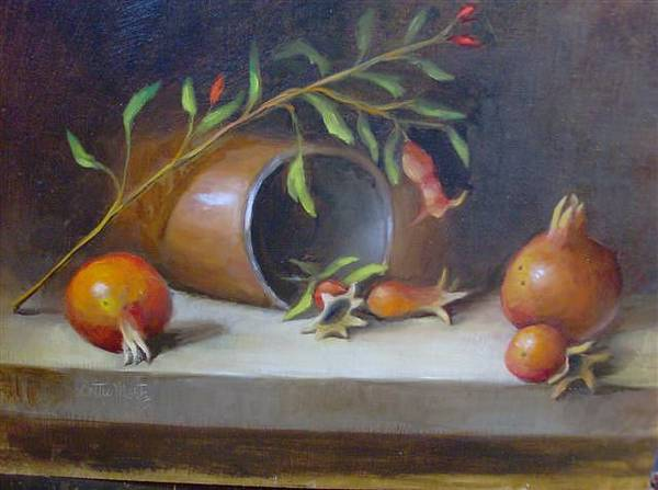 11x14 Painting - The Life Of A Pomegranate by Dottie Martz