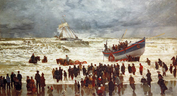 Boats Wall Art - Painting - The Lifeboat by William Lionel Wyllie