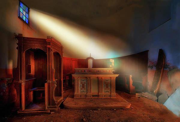 Photograph - The Light In The Abandoned Church - La Luce Nella Chiesa Abbandonata by Enrico Pelos