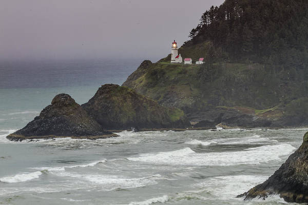 Promontory Point Photograph - The Light Is On At Heceta Head Lighthouse by Teri Virbickis