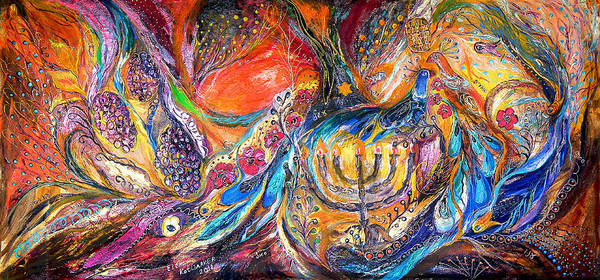 Pomegranates Painting - The Light Of Menorah by Elena Kotliarker