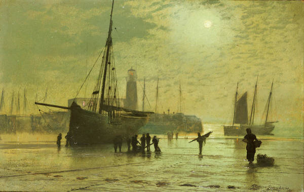 Seacoast Wall Art - Painting - The Lighthouse At Scarborough by John Atkinson Grimshaw