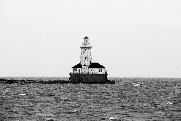 Photograph - The Lighthouse Black And White by D Justin Johns