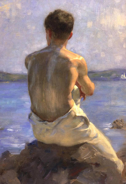 Painting - The Lighthouse by Henry Scott Tuke