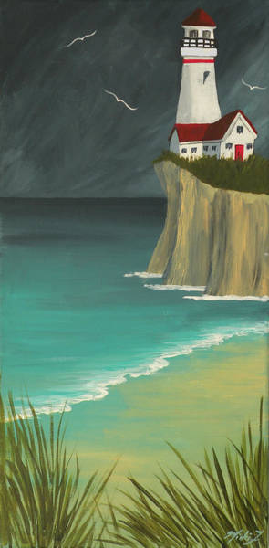 Painting - The Lighthouse On The Cliff by Micki Findlay