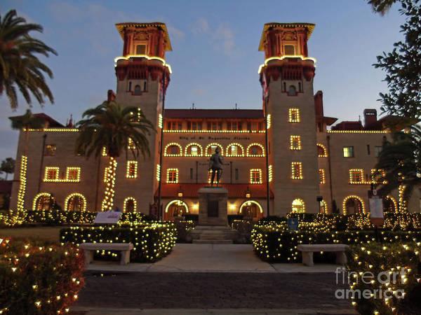 Flagler Photograph - The Lightner Museum Night Of Lights by D Hackett