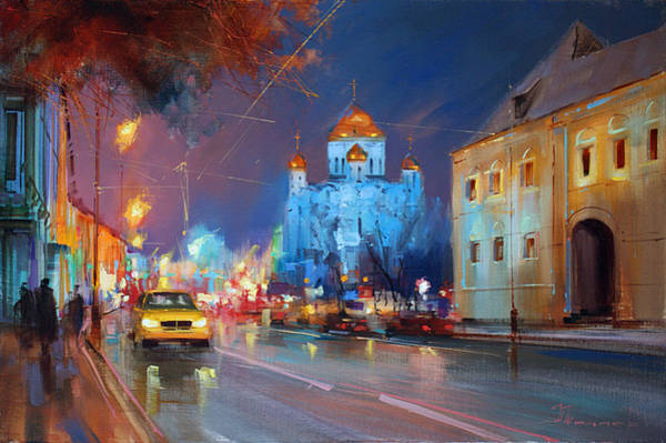 Taxi Painting - The Lights Of Prechistenka Street by Alexey Shalaev