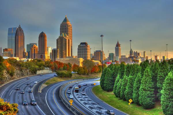 Georgia Power Company Photograph - The Atlanta Line Up Autumn Sunset Reflections by Reid Callaway